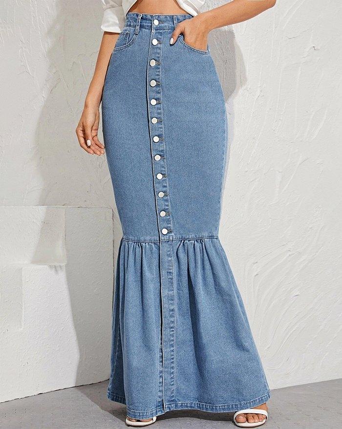 Button-Up Denim Mermaid Maxi Skirt - Blue L