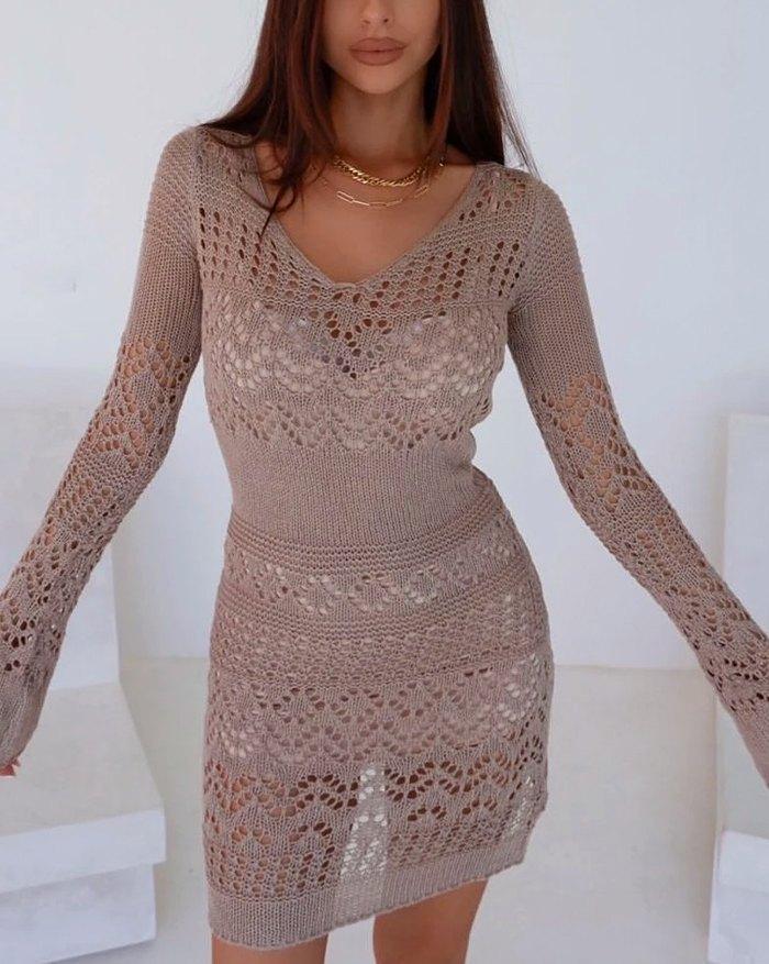 Crochet Hollow Sweater Dress - Brown L
