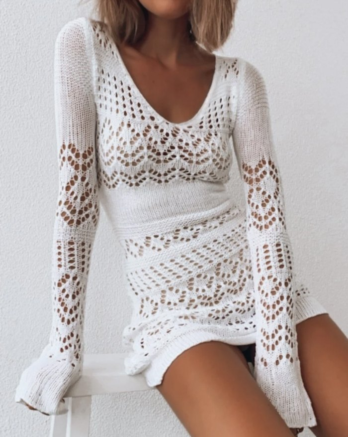 Crochet Hollow Sweater Dress - White XS