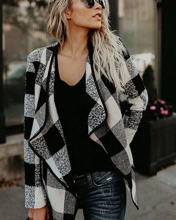 Plaid Pattern Jacket - Black M