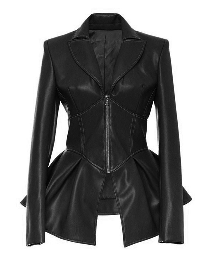 PU Leather Ruffle Biker Jacket - Black L