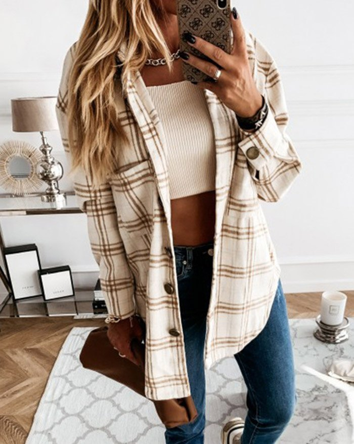 Shacket Vintage Plaid Shirt Jacket - Brown S