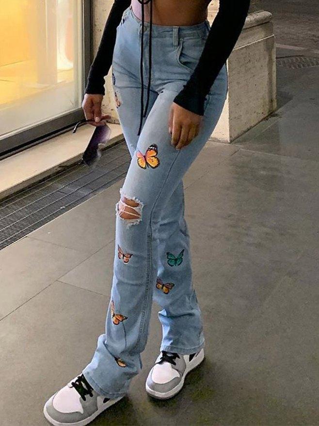 Butterfly Print High Waist Flare Jeans - Blue XL