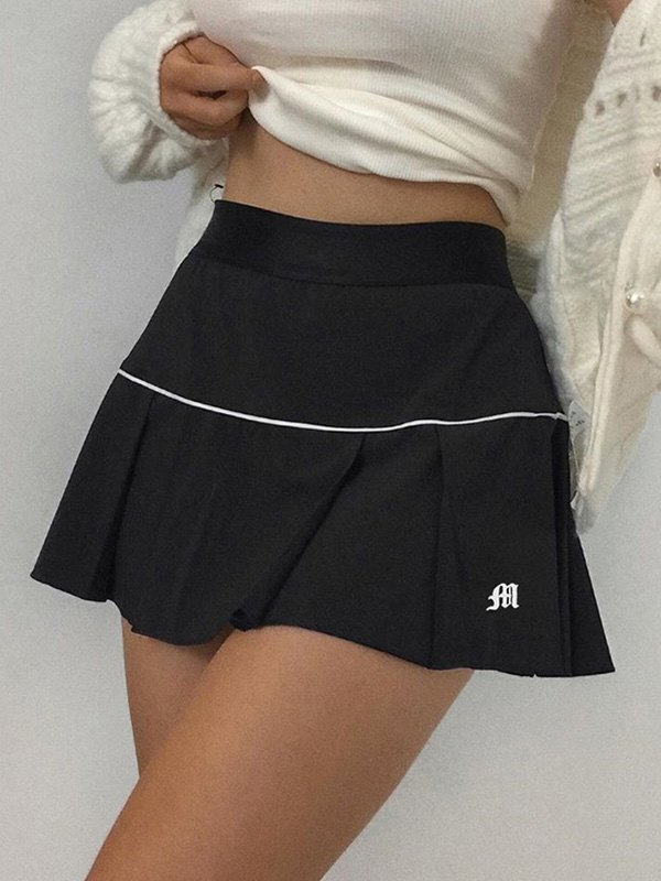 Letter Embroidered Reflective Tennis Skirt - Black S
