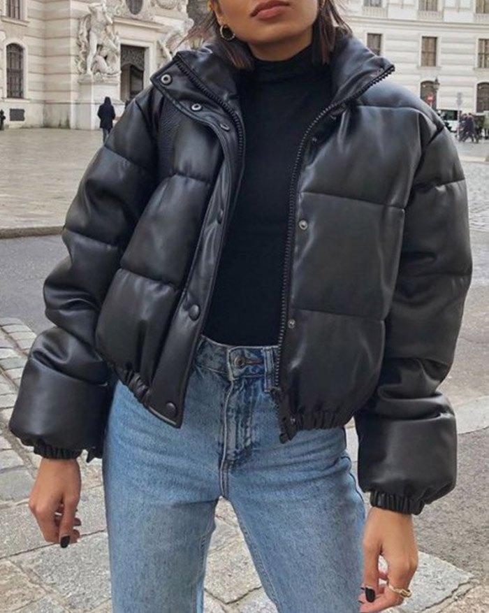 Puffer Jacket Pu Leather Puffer Jacket - Black XS