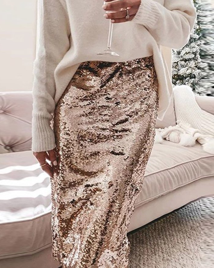 Sequined Pencil Skirt - Golden XL