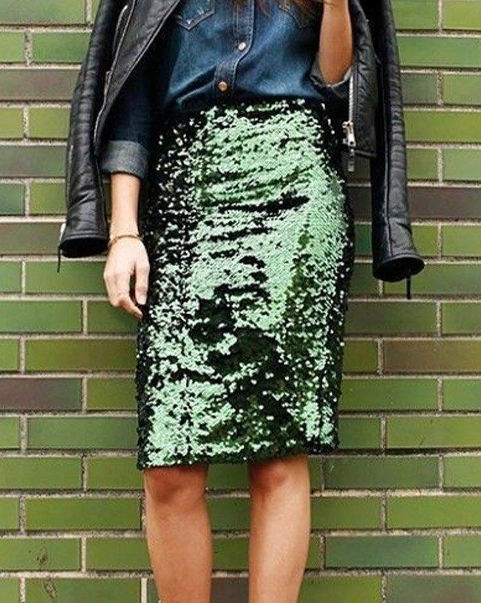 Sequin Zipper Pencil Midi Skirt - Green L