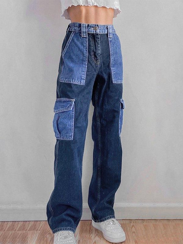Contrast Patchwork Jeans - Blue M