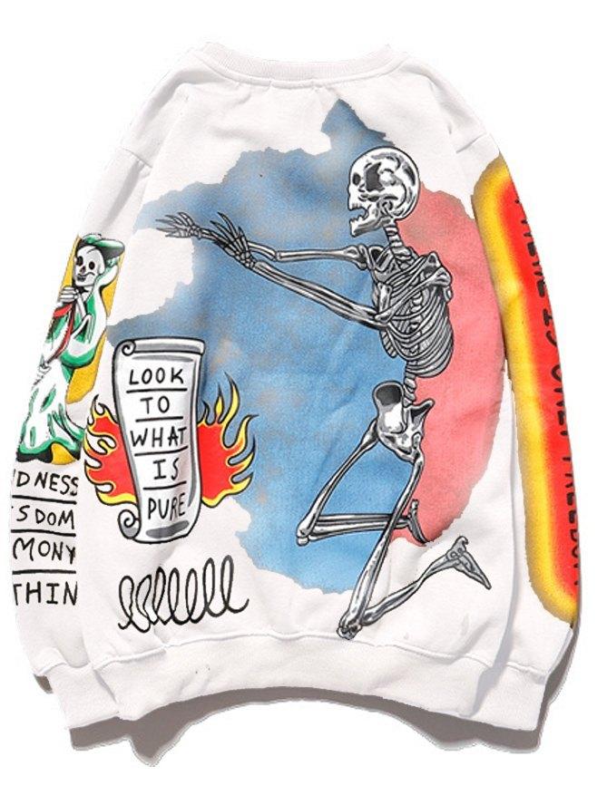Sweat-shirt imprimé pour homme - Blanc S