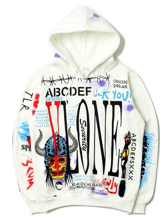 Felpa con cappuccio da uomo stampata con graffiti Hip Hop - Bianca M