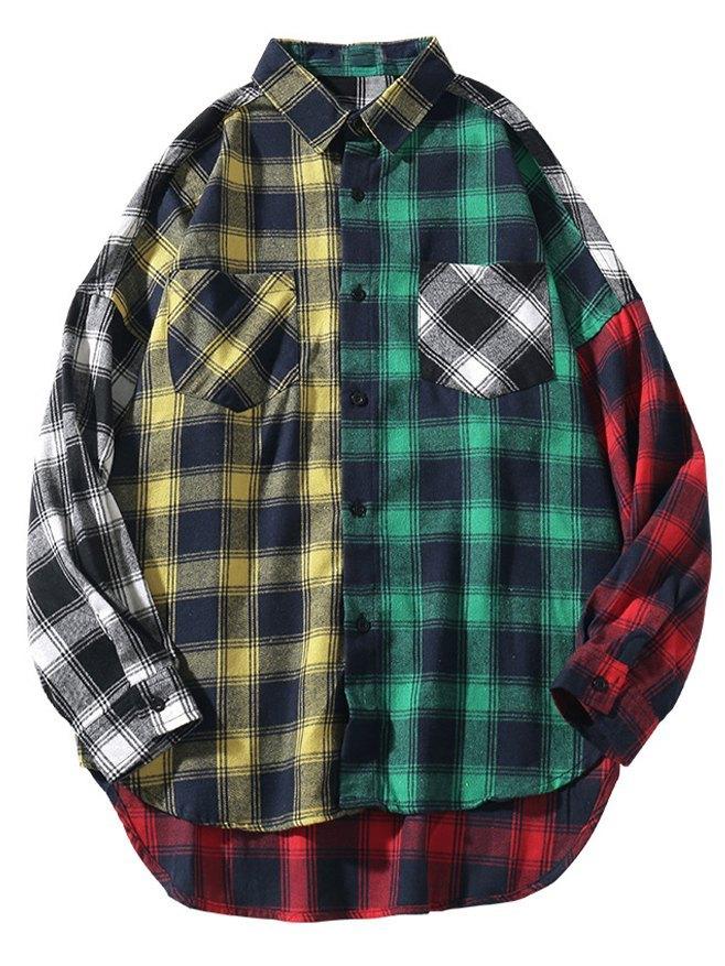Chemise oversize à carreaux color block pour homme - Couleurs multicolorples 3XL