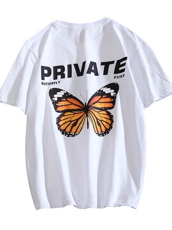 Men's Butterfly Letter Print Tee -