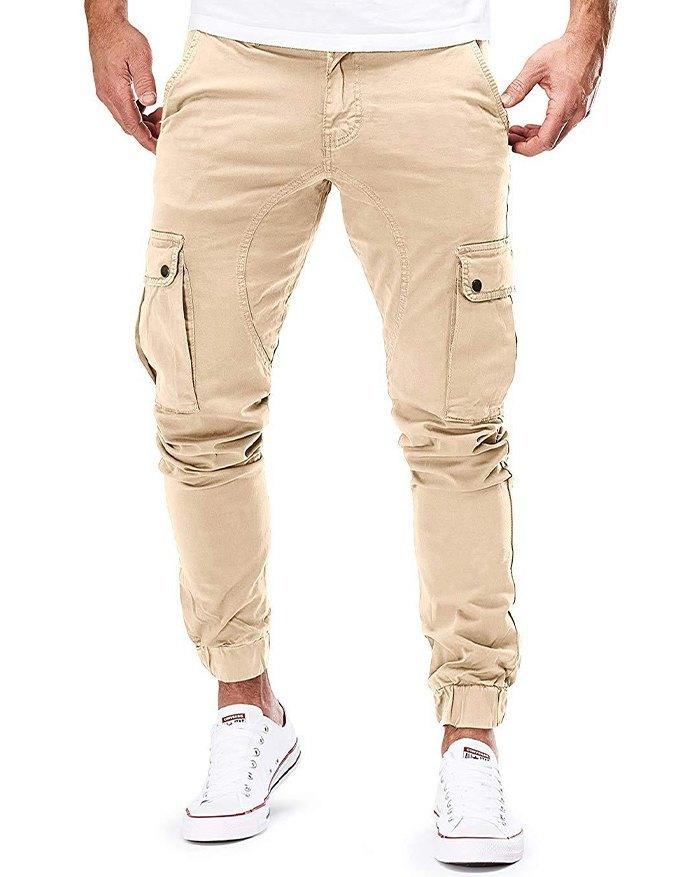 Men's Woven Casual Cargo Pants - Khaki M