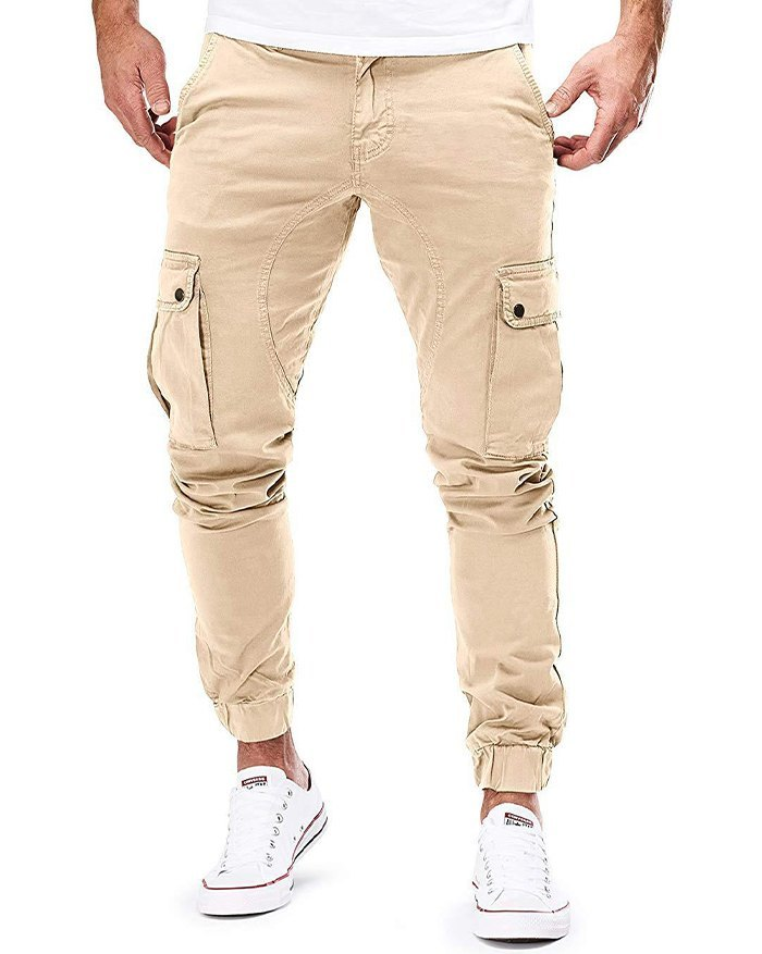 Men's Woven Casual Cargo Pants - Khaki L