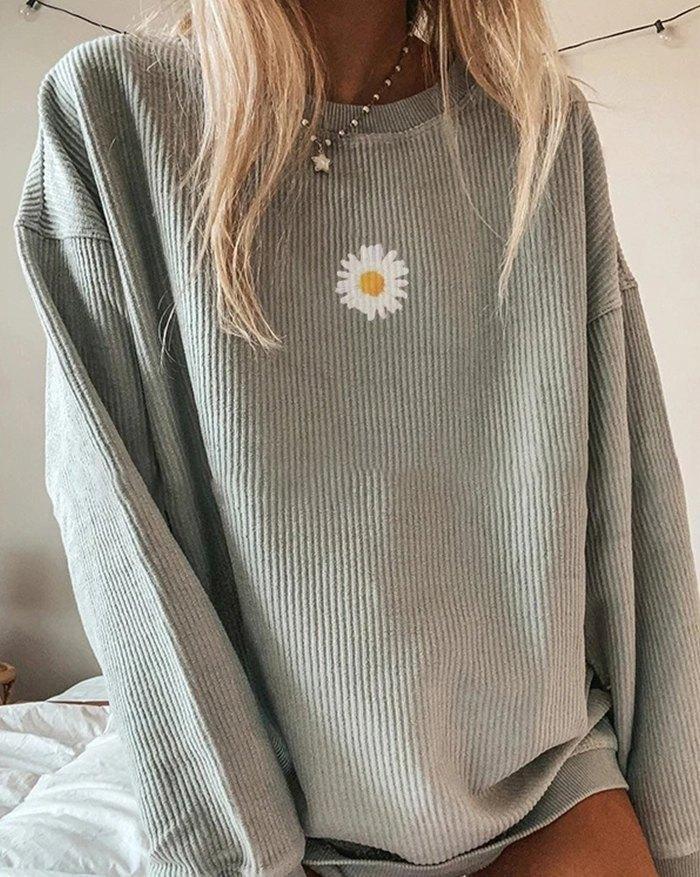 Daisy Print Sweatshirt - Gray S