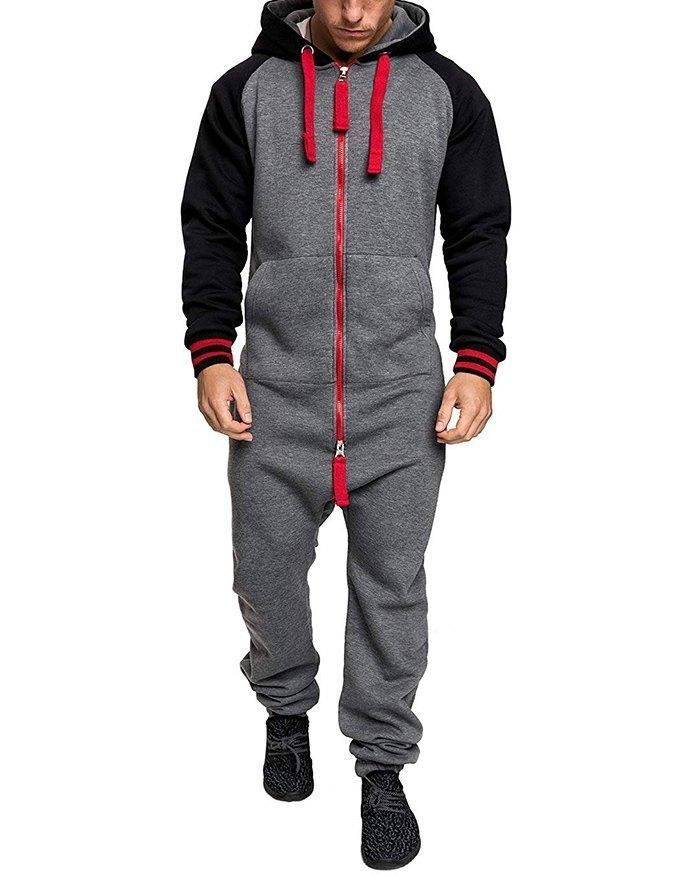 Men's Color Block Hooded Zipper Jumpsuit - Gray S