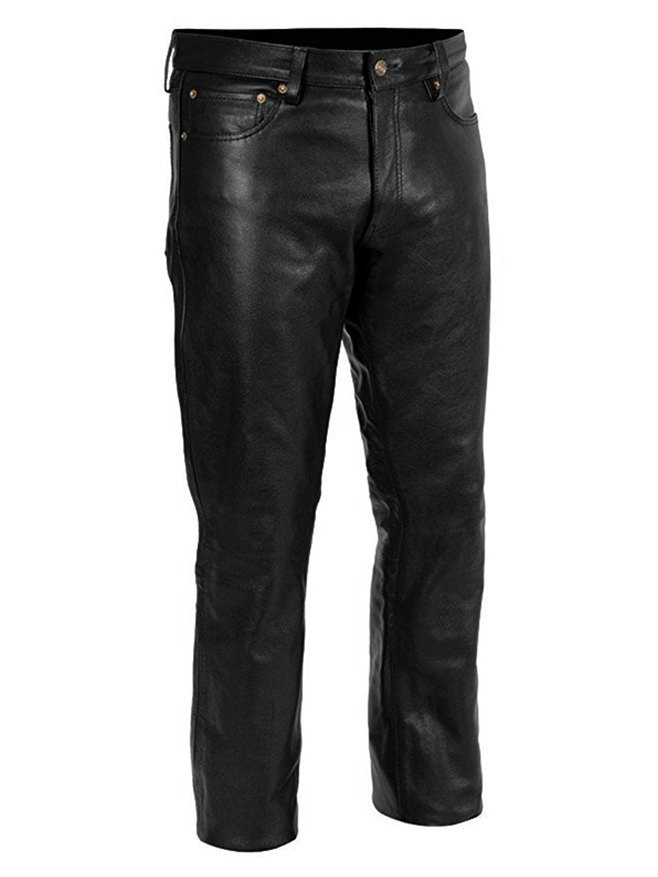 Men's Pu Leather Casual Pants - Black XL