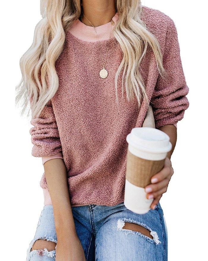 Cashmere Loose Pullover Sweatshirt - Pink M