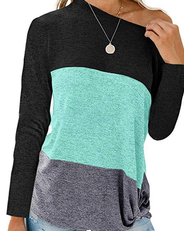 Color Block Knotted Long Sleeve Tee - Green M