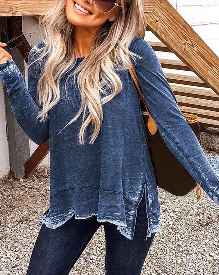 Side Slit Distressed Sweatshirt - Blue M