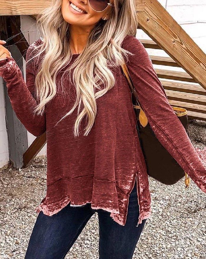 Side Slit Distressed Sweatshirt - Burgundy M