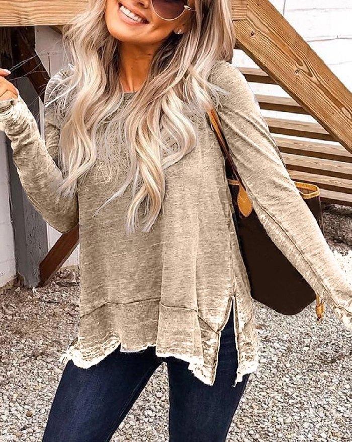 Side Slit Distressed Sweatshirt - Khaki XL