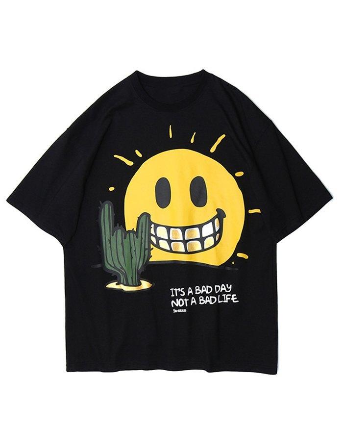 T-shirt à imprimé Smiley Face pour homme - Noir L