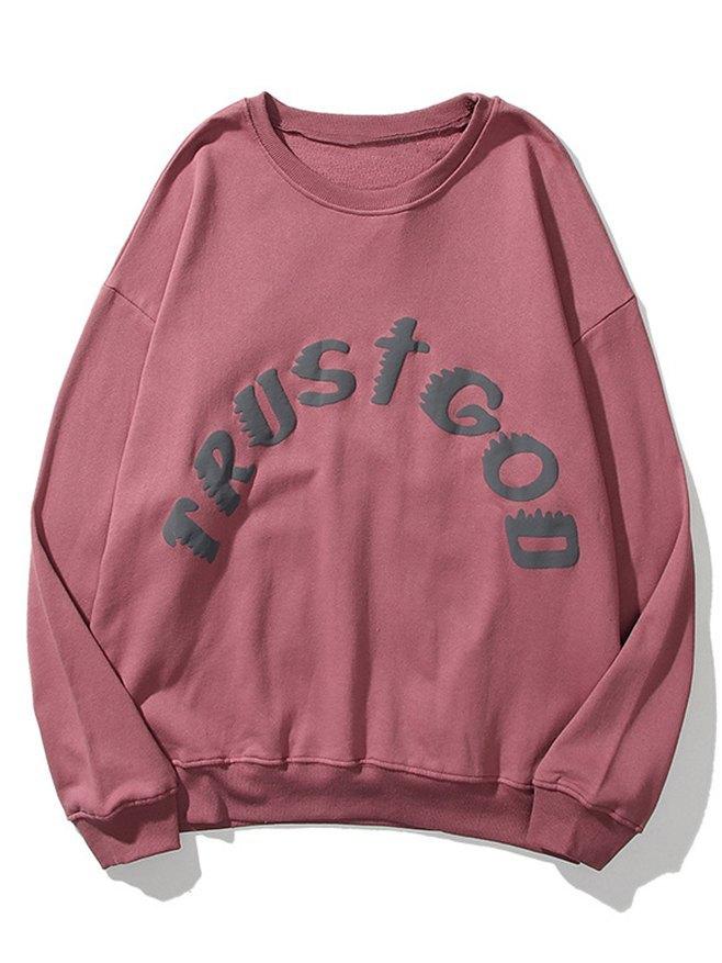 Men's Distressed Letter Print Sweatshirt -