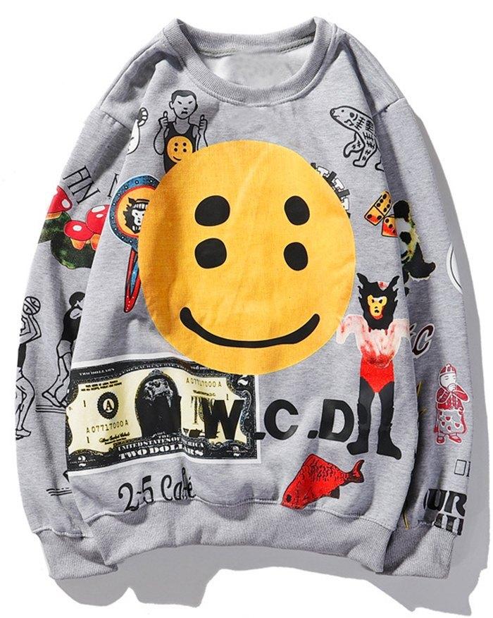 Men's Smile Print Sweatshirt -