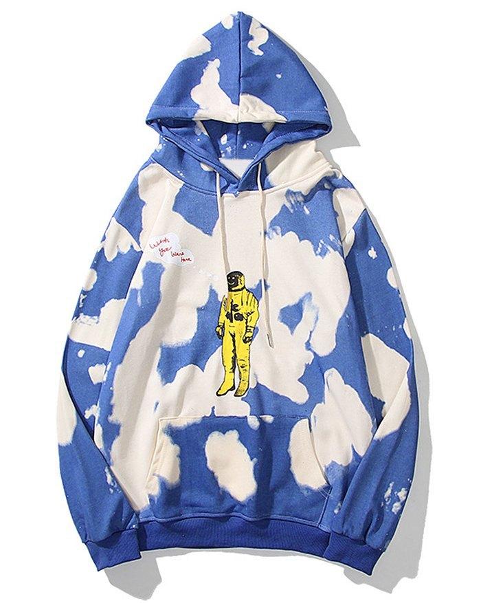 Sweat à capuche Tie-dye Astronaut Print pour homme -