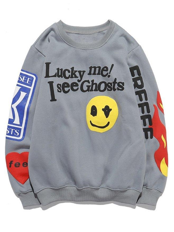 Smile Letter Print Sweatshirt - Gray S