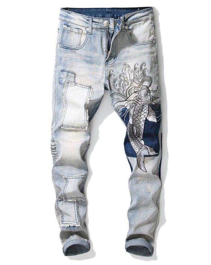 Men's Embroidered Patchwork Straight Jeans - Blue M