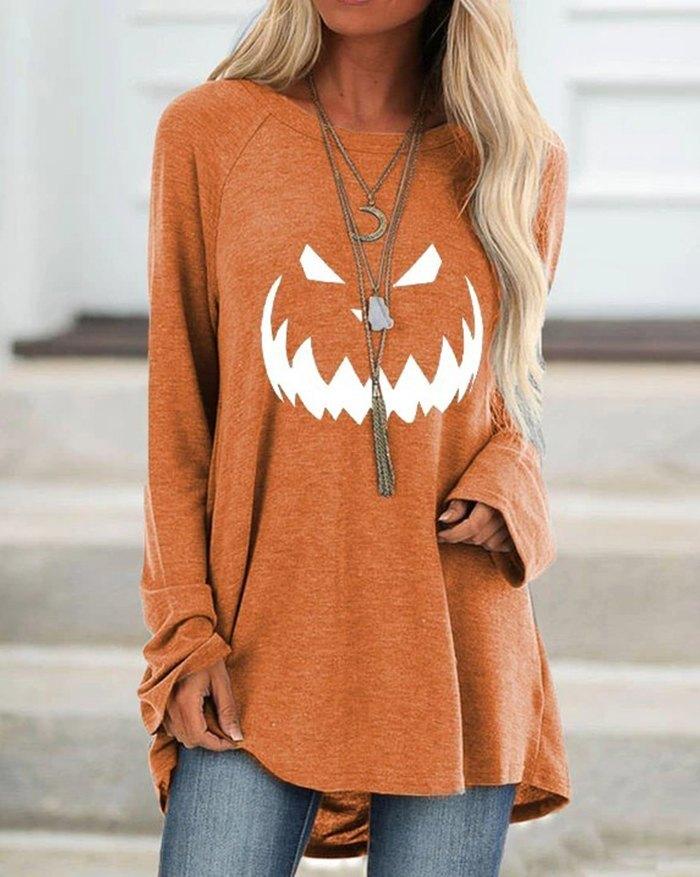 Maglietta con stampa zucca di Halloween - Arancia S