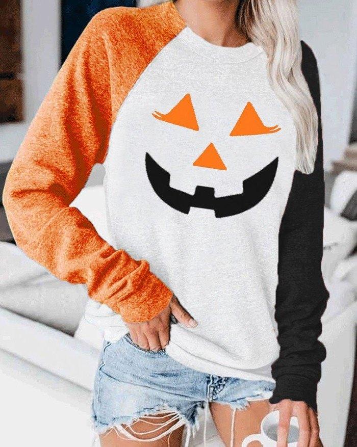 Patchwork Halloween Print Sweatshirt - Orange S