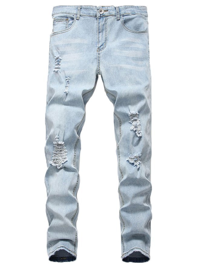 Men's Ripped Stretch Skinny Jeans - Blue S