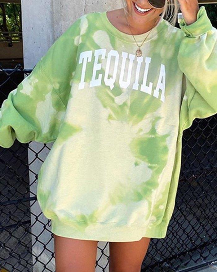 Tie-dye Letter Print Sweatshirt - Green XL