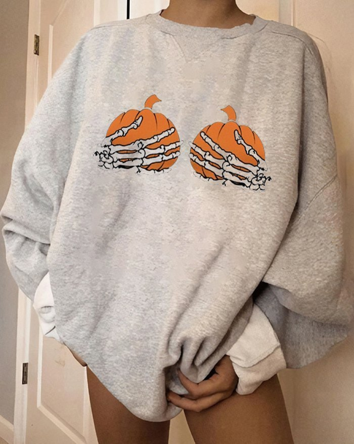 Halloween Pumpkin Skeleton Print Sweatshirt - Gray M