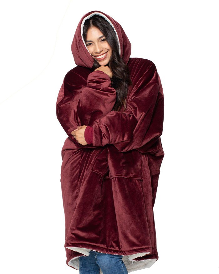 Oversized Wearable Blanket Plush Hoodie - Burgundy ONE SIZE