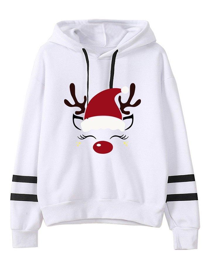 Felpa con cappuccio con stampa di cappello natalizio - Bianca S