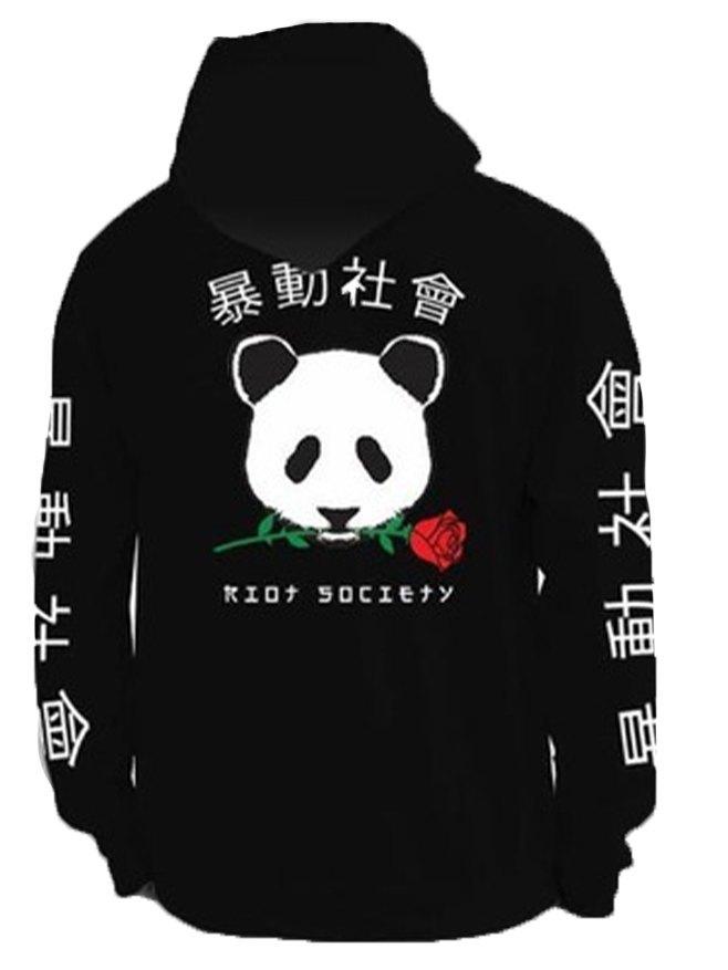 Chandail à capuchon imprimé panda chinois pour homme - Noir M