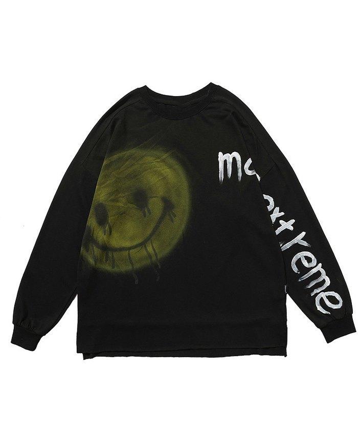 Graffiti Inkjet Smile Sweatshirt - Black S