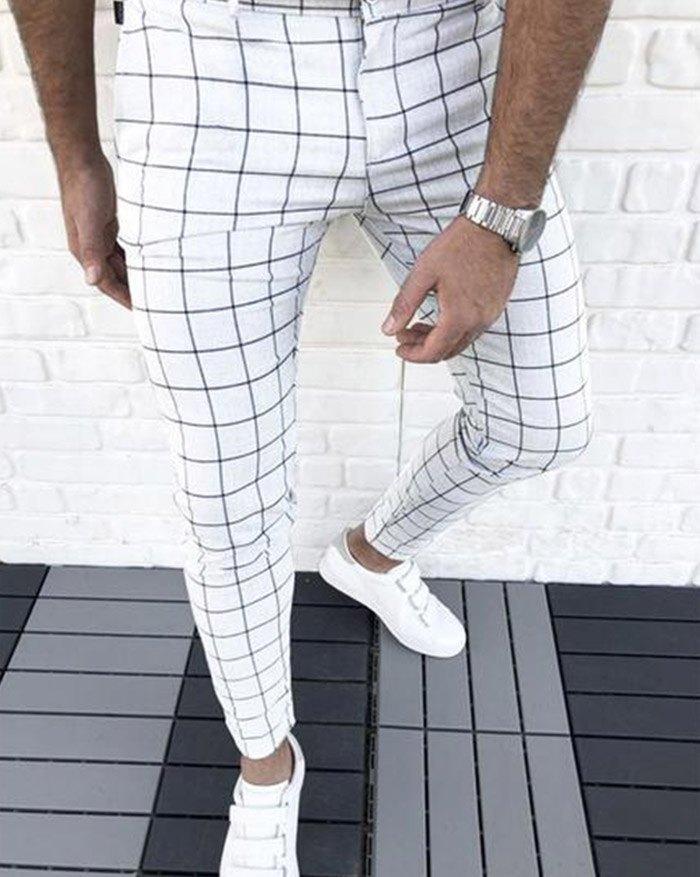 Pantaloni casual a quadri da uomo - Bianca M