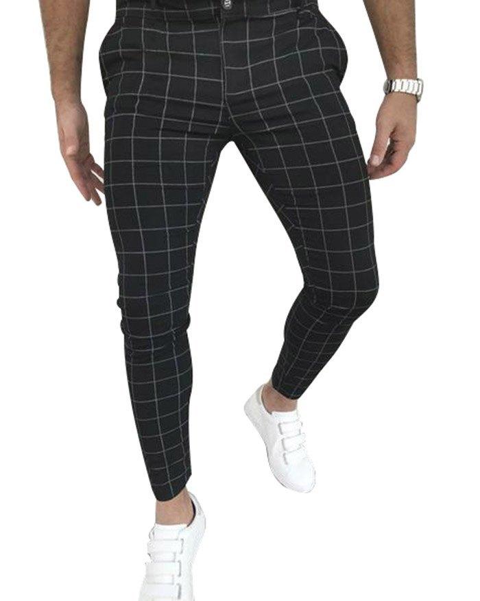 Pantalon décontracté à carreaux pour hommes - Noir M