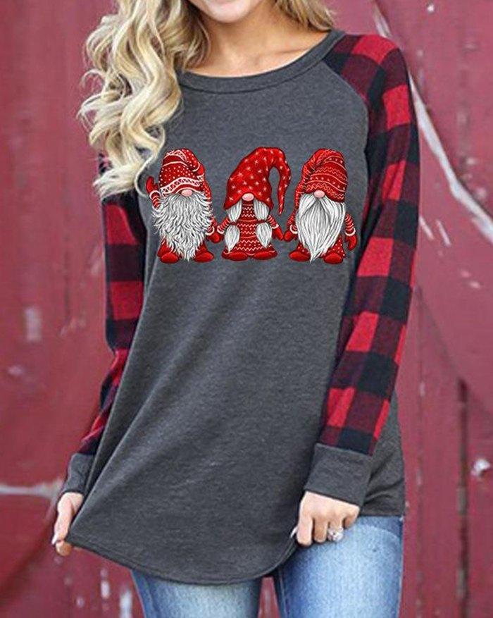 Christmas Dwarfs Print Plaid Sweatshirt - Gray 2XL