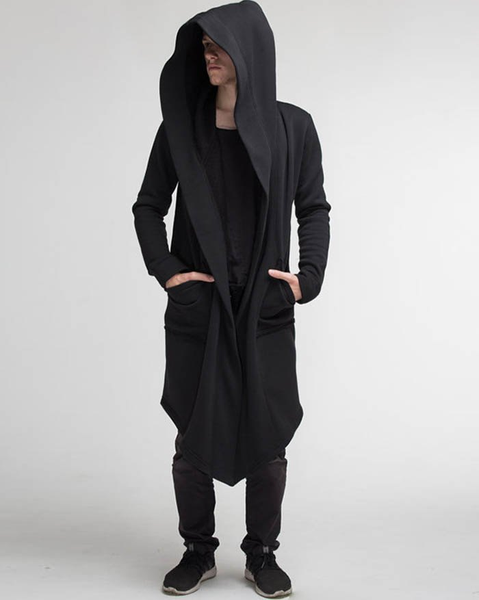 Chandail à capuchon Cardigan Cloak pour hommes - Noir XL