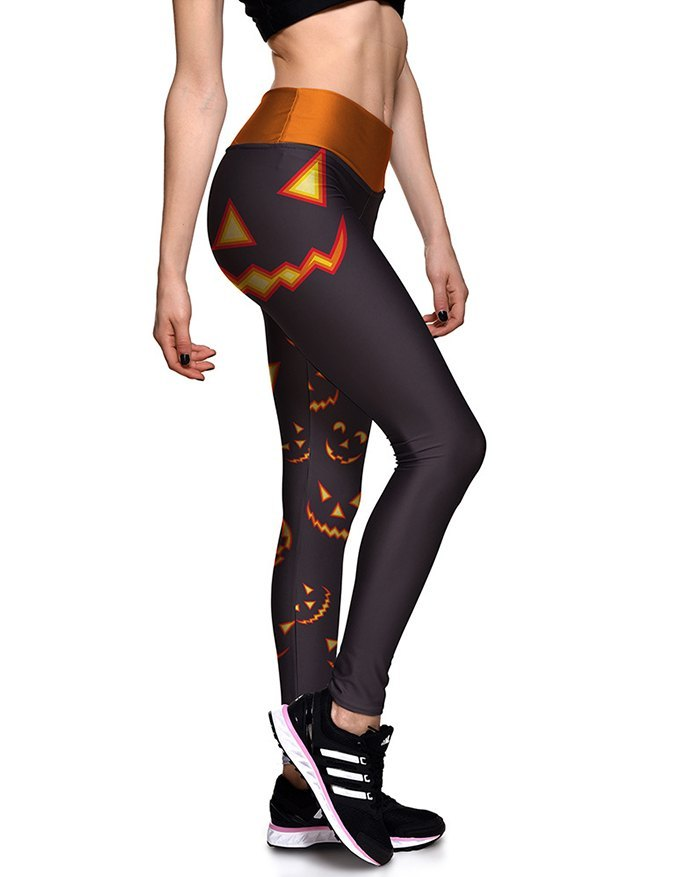 Halloween Stretch Pumpkin Print Legging - multicolorple Colors M