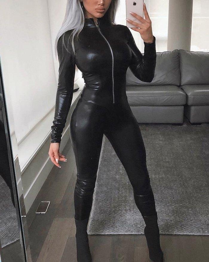 Front Zip Pu Leather Jumpsuit - Black M