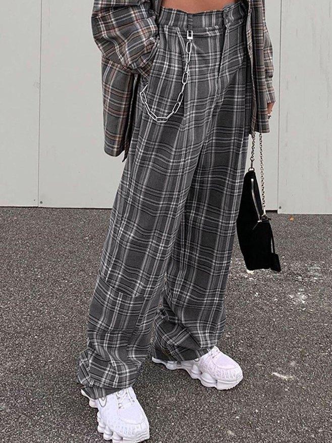 High-waist Plaid Straight Pants - Gray S
