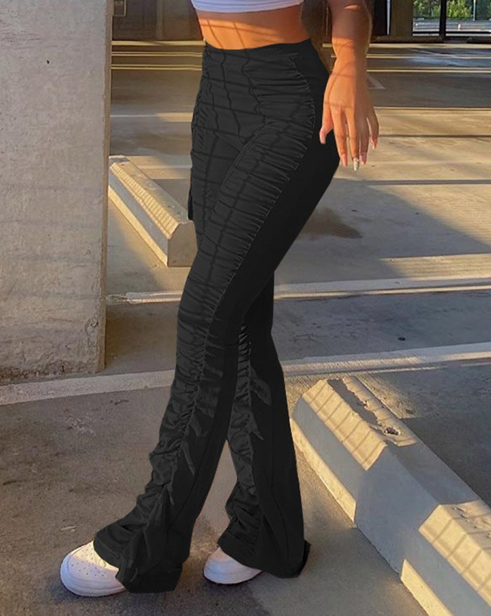 High Waisted Stacked Stretch Pants - Black L