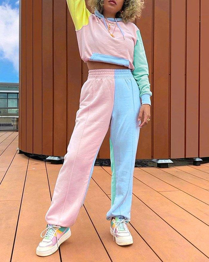 Ensemble de jogging femme Combinaison blocs de couleurs chandail deux pièces